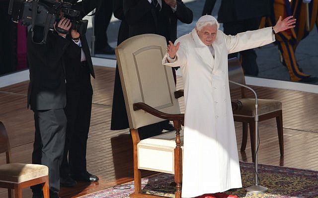 Pope Benedict XVI waves to pilgrims in St. Peter's Square at the Vatican, Wednesday, Feb. 27, 2013. (photo credit: AP/Luca Bruno)