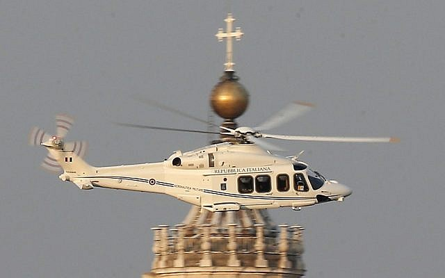 A helicopter with Pope Benedict XVI onboard leaves the Vatican in Rome on Thursday. (photo credit: AP/Michael Sohn)