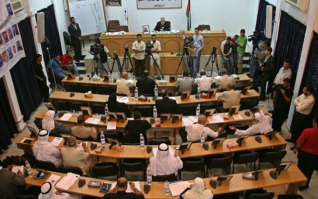 A Hamas parliament session in Gaza City, October 6, 2008. Hamas said on Wednesday that parliament members were visiting Bulgaria to meet with government officials there. (photo credit: Ashraf Amra/propaimages/Flash90)