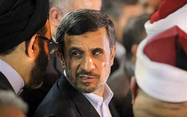 Iranian President Mahmoud Ahmadinejad attends a press conference with Egyptian Sunni clerics at Al-Azhar headquarters in Cairo, Tuesday, Feb. 5, 2013 (photo credit: AP/Amr Nabil)