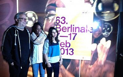 'Art/Violence' directors Udi Aloni, Maryam Abukhaled and Batool Taleb in Berlin at the 63rd Berlin International Film Festival. (photo credit: courtesy Art/Violence Facebook page)