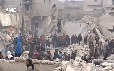 A screenshot from a video released by the Aleppo Media Center showing the rubble of Jabal Badro. (Screenshot via YouTube)