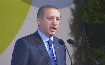 Recep Tayyip Erdogan at the opening of the UN Alliance of Civilizations Global Forum (photo credit: screenshot webtv.un.org)
