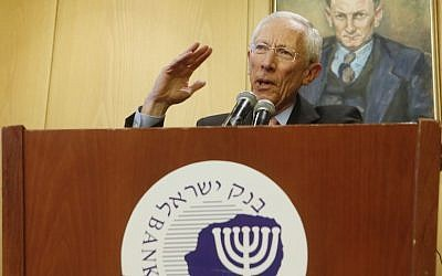 Stanley Fischer, former Governor of the Bank of Israel, at a recent press conference (Photo credit: Miriam Alster/Flash90)
