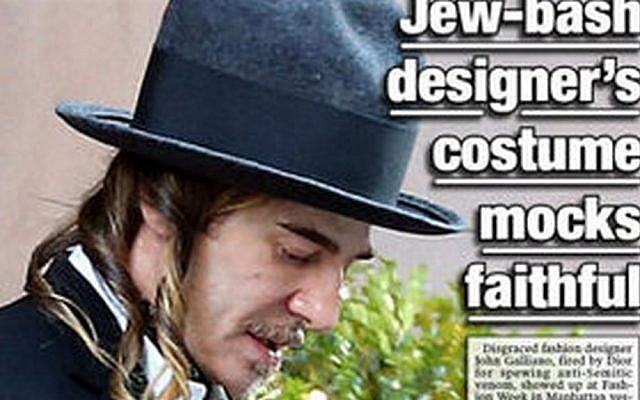 A details from the cover of a New York Post, featuring John Galliano in Hassidic-looking garb. The publication called him a 'schmuck.'