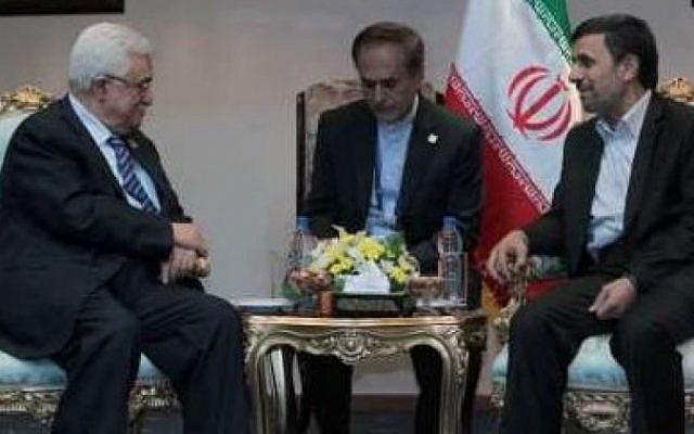 Mahmoud Abbas and Mahmoud Ahmadinejad in Cairo on February 6 (photo credit: IRNA screenshot)