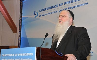 MK Meir Porush (United Torah Judaism) speaks at the Conference of Presidents of Major American Jewish Organizations in Jerusalem on Tuesday, February 12, 2013. (photo credit: Courtesy)
