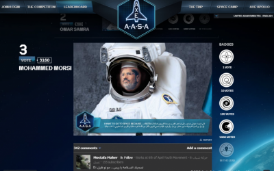 Image of Egyptian president Mohammed Morsi as astronaut uploaded to Axe space contest site by April 6 (Screenshot)