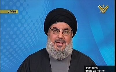 Hezbollah leader Hassan Nasrallah. (photo credit: image capture from Channel 2/Al Manar)