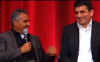 Emad Burnat (left) and Dror Moreh at a pre-awards 'Oscar Celebrates: Docs' event in Los Angeles last week (photo credit: YouTube screenshot)