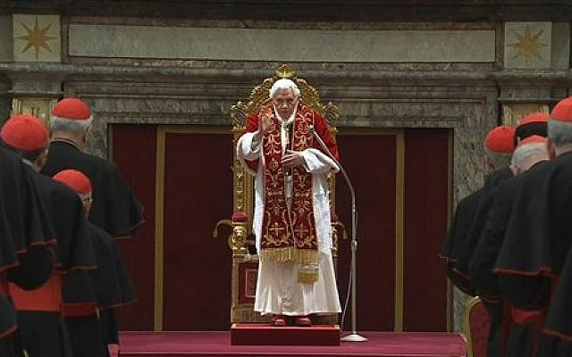 Pope Benedict XVI delivers his final greetings to the assembly of cardinals at the Vatican, Thursday, February 28, 2013 (photo credit: AP Photo/Vatican TV)