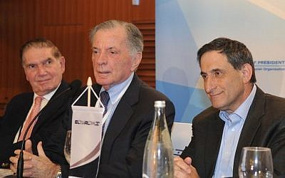 Itamar Rabinovich, center, speaking at the Conference of Presidents of Major American Jewish Organizations, Feb 12, 2012 (photo credit: Avi Hayun)