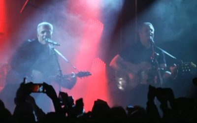 Yesh Atid party chairman Yair Lapid (left) pays homage to the Beatles Saturday at a celebration marking the end of his successful campaign. (screen capture from Walla)