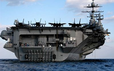 The aircraft carrier USS Harry S Truman  sits in the Persian Gulf on Feb. 8, 2005.(photo credit: Rome J Toledo, US Navy/Department of Defense)