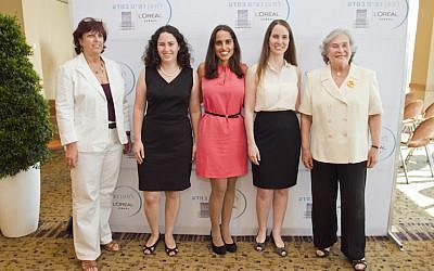 File: Winners of the Israeli competition of the L'oreal-UNESCO Women In Science event, held July 2013. Left to right: Professor Hagit Yaron-Meser, Chairperson of the Open University; Prize winners Osnat Zomer-Penn, Dr. Efrat Shamah-Yaakovi, and Gili Bisker; and Ruth Arnon, director of the Israeli Academy of Sciences (Lamm and Velich Photo Studio)