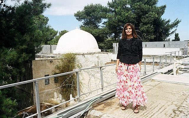 Miriam Adani on a rooftop generally reserved only for soldiers and from which 'the nostalgic view' of the tomb is visible (Photo credit: Miriam Adani/ Kever Rachel Fund)