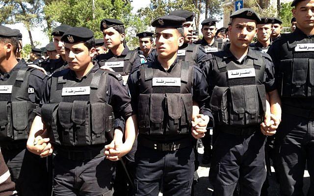 Palestinian policemen in Ramallah Thursday. (photo credit: Elhanan Miller/Times of Israel staff)