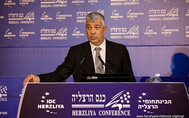 Udi Shani speaks at the Herzliya Conference Monday (Photo credit: Courtesy Herzliya Conference)