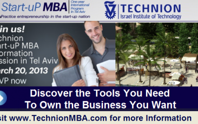 The Technion's Start-uP MBA in Israel is a one-year international MBA program taught in English
