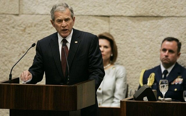 President George W. Bush speaks to a special session of the Knesset, May 15, 2008. (photo credit: AP/Ariel Schalit/pool)