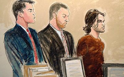 In this courtroom artist's rendering, Abdel Hameed Shehadeh, right, appears in Brooklyn federal court in November on charges he made false statements to US authorities. (Elizabeth Williams/AP)