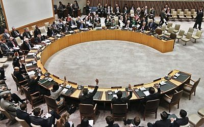 UN Security Council members vote during a March meeting  (photo credit: AP/Bebeto Matthews/File)