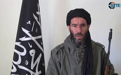 This image taken from video provided by the SITE Intel Group made available Thursday Jan. 17, 2013, purports to show militant militia leader Mokhtar Belmokhtar.  (photo credit: AP/SITE Intel Group)