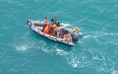 A police vessel takes part in the search for men suspected to have drowned off the Ashkelon coast on Thursday. (photo credit: Courtesy Israel Police)
