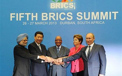 The leaders of Brazil, Russia, India, China and South Africa during the BRICS 2013 Summit in Durban, South Africa, on Wednesday, March 27, 2013 (photo credit: AP Photo/Sabelo Mngoma)