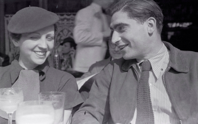 Capa, with Taro in Paris in 1936, never recovered from her death in Spain. (Estate of Fred Stein - International Center of Photography)