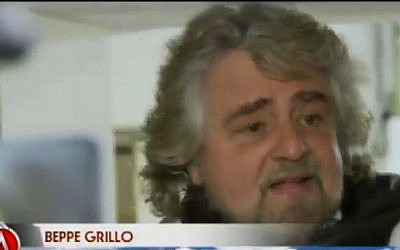 Italian politician Beppe Grillo (screen capture: Youtube/informazione dal basso)