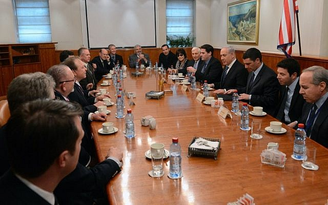 A delegation of the Council for a Secure America meets with Prime Minister Benjamin Netanyahu last month in Jerusalem. (Admon HaCohen, Courtesy of the Council for a Secure America via JTA)
