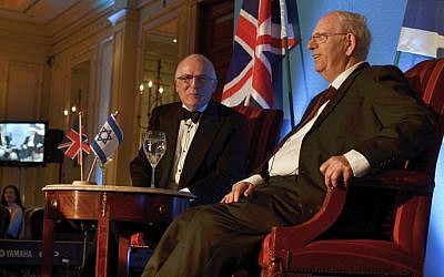 Sir Richard Dearlove (left) and Efraim Halevy address the Zionist Federation event in London (photo credit: Courtesy Zionist Federation)