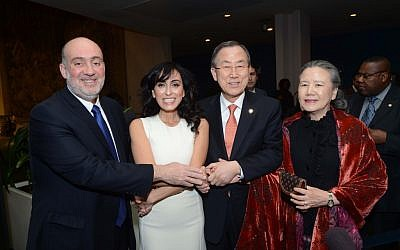 Rita with Ambassador Ron Prosor, and UN Secretary General Ban Ki-moon and his wife, March 5 (photo credit: Shahar Azran)