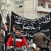 The al-Nusra Front rallies supporters in the town of Kfar Nabul. (photo: Eliyahu Kamisher)