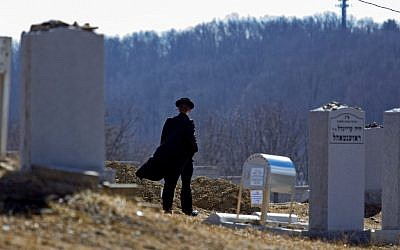 A man walks towards the graves of Nachman and Raizy Glauber, at the Satmar Cemetery 2 in Kiryas Joel, New York. (photo credit: AP/Craig Ruttle)