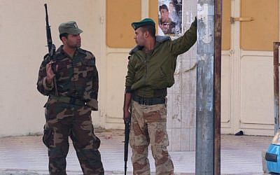 Palestinian security officers in the West Bank city of Nablus (Wagdit Ashtiyeh/Flash90)