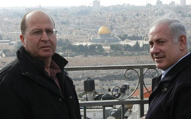 Prime Minister Benjamin Netanyahu (R) and incoming Defense Minister Moshe Ya'alon overlook the Old City of Jerusalem last year. (photo credit: Kobi Gideon/Flash90)