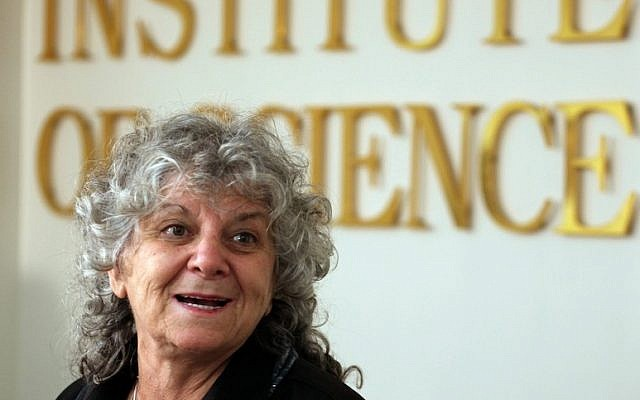 Israeli Nobel Prize winner Ada Yonath, who is also a professor at the Weizmann Institute of Science, at a press conference in Rehovot (Photo credit: FLASH90)