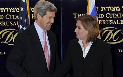 John Kerry and Tzipi Livni in Jerusalem in March 2013. (photo credit: Matty Stern/US Embassy/Flash90)