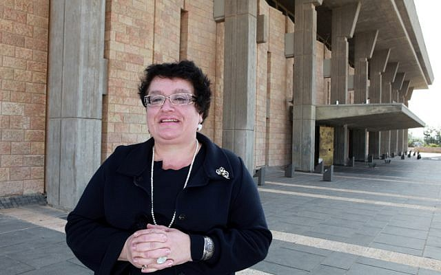 Former Kadima MK Marina Solodkin, who died in Latvia on Saturday, poses for a photo outside the Knesset building in 2010. (photo credit: Nati Shohat/Flash90)