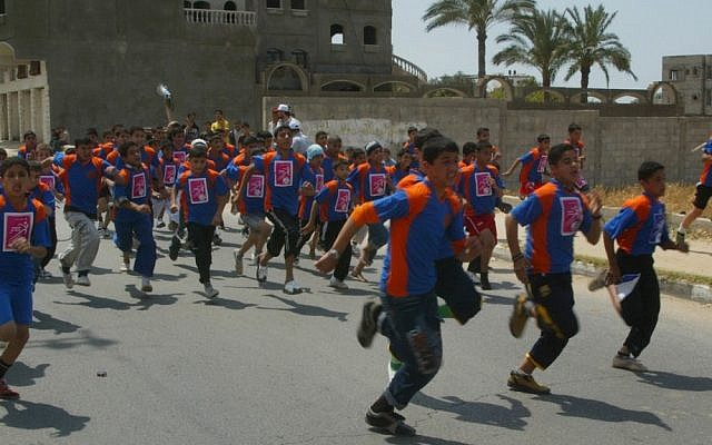 Illustrative photo of Palestinian youths racing during a 2010 festival in Khan Younis, southern Gaza Strip (photo credit: Abed Rahim Khatib/Flash90)