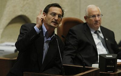Hadash MK Dov Hanin addresses the Israeli Parliament on July 13, 2010. (photo credit Miriam Alster/Flash90)