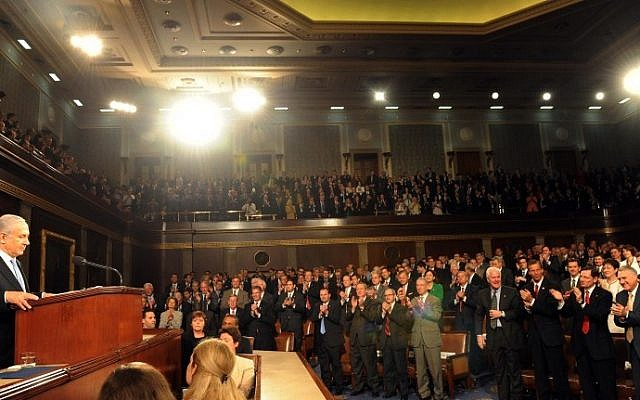Prime Minister Benjamin Netanyahu addresses the US Congress in Washington, May 24, 2011. (photo credit: Avi Ohayon/GPO/Flash90)