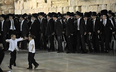 Ultra Orthodox men singing and dancing at the Western Wall, June, 2011. (photo credit: Sophie Gordon / Flash 90)