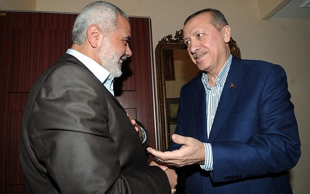 Turkish Prime Minister Recep Tayyip Erdogan (R) with Hamas leader Ismail Haniyeh in January 2012 (photo: Mohammed Al-Ostaz / Flash 90)