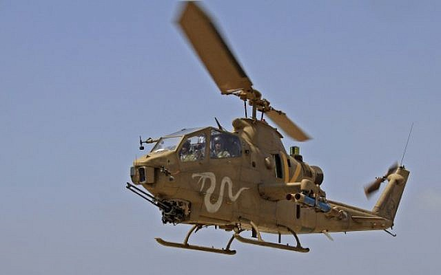 Illustrative photo of a Cobra AH-1 attack helicopter (photo credit: Ofer Zidon/Flash90)