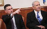 Education Minister Gideon Sa'ar and Prime Minister Benjamin Netanyahu in December, 2012. (Miriam Alster/Flash90)