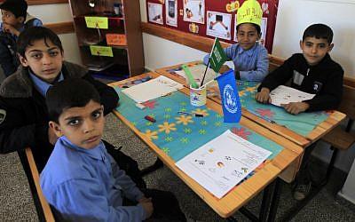 Palestinian children at a school in the Gaza Strip city of Rafah. (Abed Rahim Khatib/Flash90)