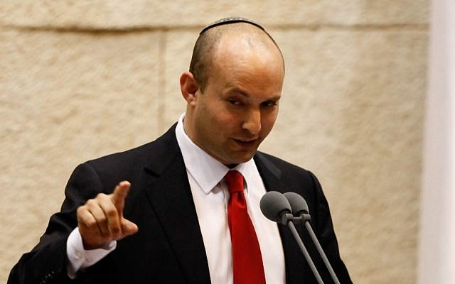 Jewish Home party chair Naftali Bennett addresses the Knesset in February (photo credit: Flash90)